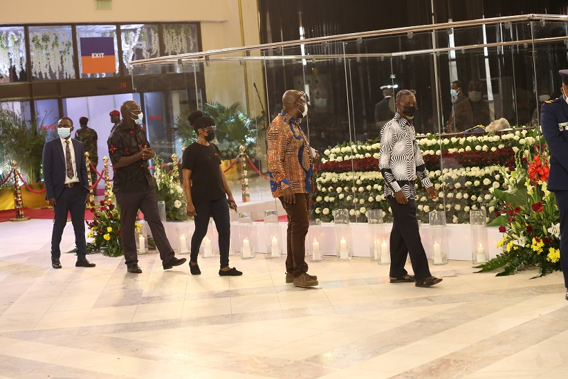 Mourners attends a mourning ceremony to pay their respects to the late former Ghanaian President Jerry John Rawlings in Accra, Ghana, on Jan. 26, 2021. Ghanaian President Nana Addo Dankwa Akufo-Addo led a delegation of dignitaries to pay their last respect to the memory of the late former President Jerry John Rawlings on Tuesday at the Accra International Conference Center. (Xinhua)