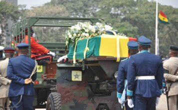 Ghanaian soldiers escort the casket of former Ghanaian President Jerry John Rawlings at the Independence Square in Accra, Ghana, on Jan. 27, 2021. The body of former Ghanaian President Jerry John Rawlings was buried at the military cemetery here Wednesday after a burial service at Ghana's Independence Square. (Photo by Seth/Xinhua)
