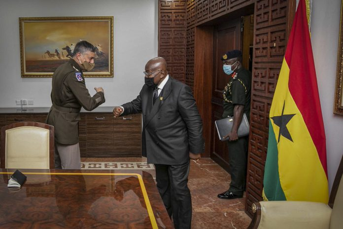 Gen. Stephen Townsend, commander, U.S. Africa Command with President of Ghana Nana Akufo-Addo, as part of a two-day visit Feb 23-24.