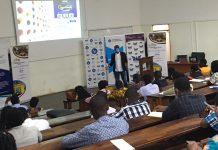 Dr. Amos Mensah in a presentation.