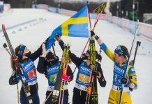 Sweden celebrate after winning the women's relay IBU World Cup overall title ©Getty Images