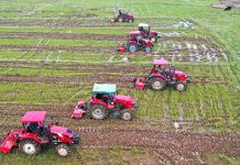 Farmers plough high-standard cropland with agricultural machinery in Gaoxing township, Xingguo county, east China's Jiangxi province, March 3. (Photo by Chen Dichang/People's Daily Online)