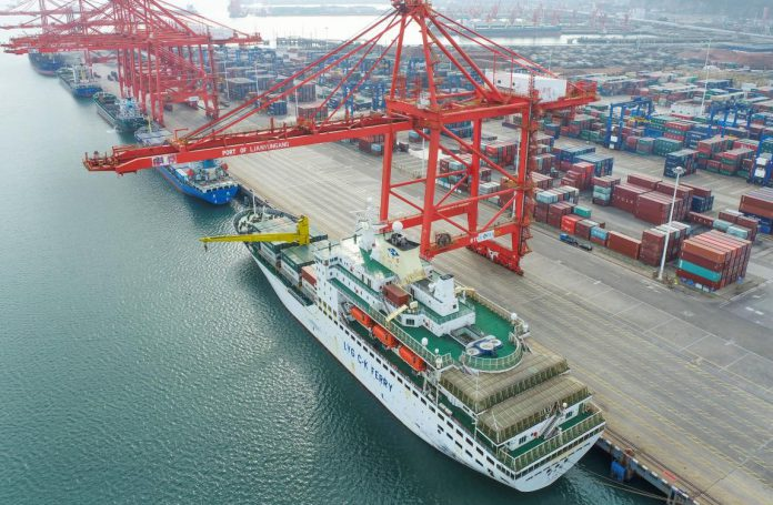 Photo taken on March 7, 2021 shows a container terminal of Lianyungang Port, east China's Jiangsu Province. (Photo by Wang Jianmin/People's Daily Online)