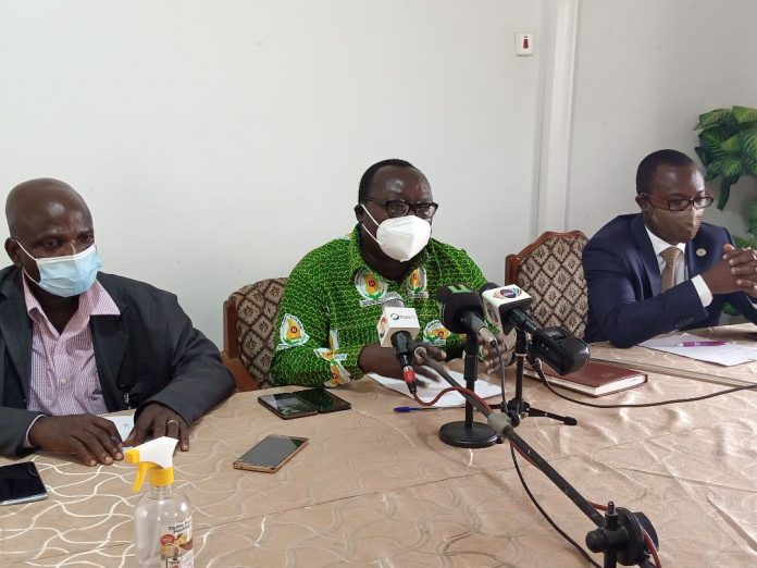 Dr Amo-Kodieh (middle) addressing the conference . Flanked by Dr Egotey, (left), and Dr Otoo (right)
