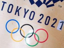 FILED - A sticker alters the Tokyo Games from 2020 to 2021 in the gym of German wrestler Frank Staebler. On Monday local organizers said the opening of the torch relay ahead of the Games would take place without spectators due to the coronavirus pandemic. Photo: Marijan Murat/dpa