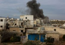 FILED - Smoke raise from a site targeted by multiple airstrikes, allegedly carried out bySyrian government forces in the town of Taqad, in the western Aleppo countryside. Photo: Juma Mohammad/IMAGESLIVE via ZUMA Wire/dpa