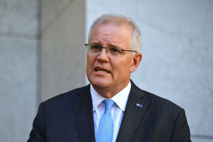 Prime Minister Scott Morrison addresses the media at a press conference at Parliament House in Canberra, Monday, March 29, 2021. (AAP Image/Mick Tsikas) NO ARCHIVING