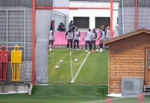 06 April 2021, Bavaria, Munich: Bayern Munich players take part in training session ahead of Wednesday's UEFA Champions League quarter-final first leg soccer match against Paris Saint-Germain. Photo: Sven Hoppe/dpa