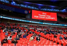 General view of the big television screens thanking the supporters inside the stadium during the English FA Cup semifinal soccer match between Leicester City and Southampton at Wembley Stadium. Photo: Richard Heathcote/PA Wire/dpa