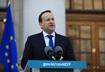 HANDOUT - Irish Leader of Fine Gael Leo Varadkar speaks during a press conference at Government Buildings, on the current situation of the coronavirus. Photo: Julien Behal/PA Media/dpa - ATTENTION: editorial use only and only if the credit mentioned above is referenced in full