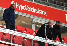 10 April 2021, Bavaria, Munich: (L-R) Karl-Heinz Rummenigge, Chairman of the Board of FC Bayern, Uli Hoeness, Honorary President of FC Bayern, and Herbert Hainer, President of FC Bayern, stand in the stands during the German Bundesliga soccer match between FC Bayern Munich and 1. FC Union Berlin at Allianz Arena. Photo: Sven Hoppe/dpa - IMPORTANT NOTICE: DFL and DFB regulations prohibit any use of photographs as image sequences and/or quasi-video.
