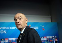 """FILED - 05 July 2019, France, Decines-Charpieu: FIFA President Gianni Infantino attends press conference. Infantino has rejected proposals for a breakaway European Super League and threatened the clubs involved with unspecified """"consequences."""" Photo: Sebastian Gollnow/dpa"""