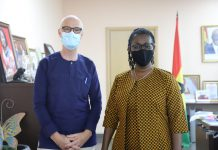 Norwegian Ambassador to Ghana, H.E Gunnar Holm and Communications and Digitalisation Minister, Mrs. Ursula Owusu Ekuful.