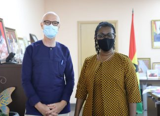Norwegian Ambassador to Ghana, H.E Gunnar Holm and Communications and Digitalisation Minister, Mrs. Ursula Owusu Ekuful.
