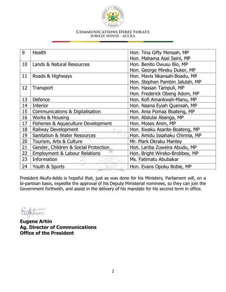 President Deputy Ministers