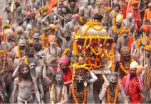 FILED - Juna Akhara Sadhus take part in a Peshwai procession as part of the Kumbh Mela mass Hindu pilgrimage in this file shot from February 27, 2019. Photo: CHANDAN RUPANI/PTI/dpa