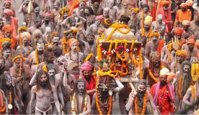 FILED - Juna Akhara Sadhus take part in a Peshwai procession as part of the Kumbh Mela mass Hindu pilgrimage in this file shot from February 27, 2019. Photo: CHANDAN RUPANI/PTI/dpa