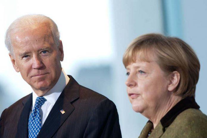 FILED - German Chancellor Angela Merkel and US President Joe Biden in Berlin on February 1, 2013. Photo: picture alliance / dpa
