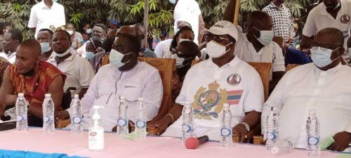 Nana Owusu Nyani , Kwamohene (Middle), Mr. Owusu Aduomi (First left) former MP for Ejisu during the launch of Keep Kwamo Clean project.