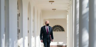Feb 23, 2021 - Washington, District of Colombia, USA - President Joe Biden walks along the Colonnade of the White House Tuesday, Feb. 23, 2021, to the Oval Office. (Credit Image: Adam Schultz/White House/ZUMA Wire/ZUMAPRESS.com Photo: White House/ZUMA Wire/dpa