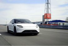 HANDOUT - Sony is further developing its Vision-S electric car prototype with 5G connectivity on a test track in Germany. Photo: Sony Group Cooperation/dpa