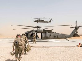 FILED - US soldiers prepare to depart from Kunduz, Afghanistan, by helicopter in 2017. President Joe Biden wants to withdraw US troops from Afghanistan by September 11, the 20th anniversary of the 9/11 attacks, a senior administration official said on Tuesday. Photo: Brian Harris/Planet Pix/ZUMA/dpa