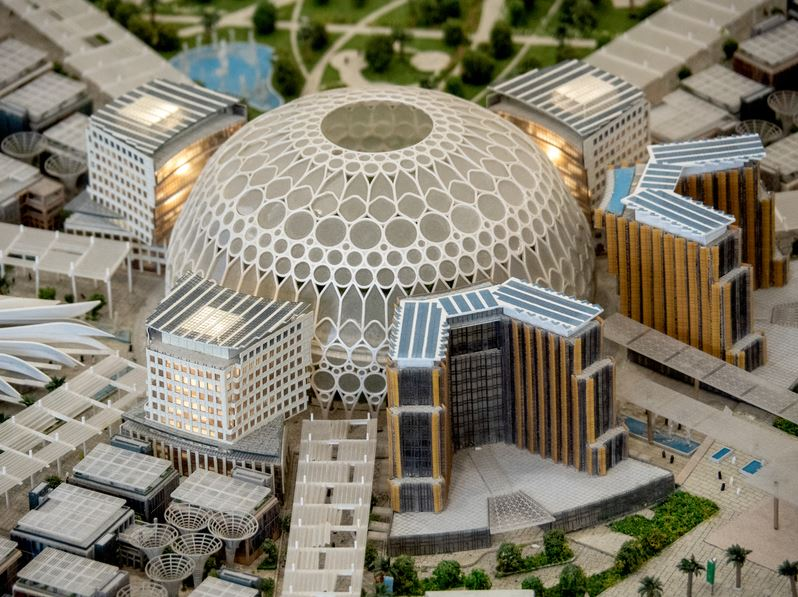 FILED - The central Al Wasl Dome - seen here as a model - will be a highlight of the World Expo. Photo: Andreas Drouve/dpa