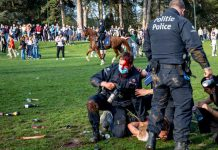01 April 2021, Belgium, Brussels: An injured policeman arrests a protester at the Bois de La Cambre - Ter Kamerenbos as Brussels local police start the evacuation of the Park. Photo: Hatim Kaghat/BELGA/dpa