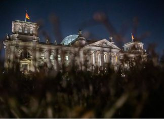 The Bundestag or lower house of parliament in Berlin. Germany's conservatives missed a self-declared Sunday deadline to resolve an internal feud over who should be their candidate to replace Chancellor Angela Merkel in upcoming elections. Hopefuls Armin Laschet, the leader of the CDU, and Markus Soeder, the more popular head of the smaller CSU, met late Sunday in the Bundestag building in Berlin, but ended more than three hours of talks with no outcome, according to dpa sources. Photo: Christoph Soeder/dpa