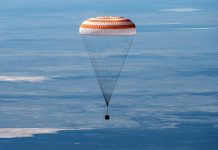 space station crew members land safely