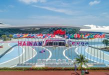 Photo taken on May 5, 2021, shows the Hainan International Convention and Exhibition Center, venue of the first China International Consumer Products Expo (CICPE), in Haikou, south China's Hainan province. (Photo by Yuan Chen/People's Daily Online)