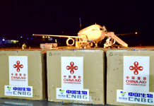 Chinese-made COVID-19 vaccines aided by the Chinese government for Solomon Islands arrive in Honiara, capital of the country, April 11, 2021. (Photo courtesy of the Chinese Embassy in Solomon Islands)