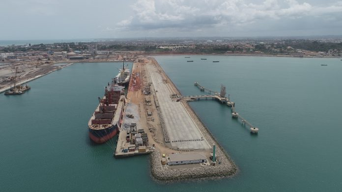 Current state of ongoing construction at Dry Bulk Terminal in Takoradi