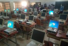 some of the computers and Notre Dame students