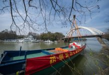 The first electric workboat in the Taihu Lake basin in east China's Jiangsu province is officially launched in Wuxi city of the province, March 10, 2021. (Photo/Official website of State Grid Jiangsu Electric Power Co., Ltd.)