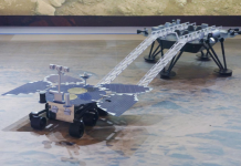 Models of China's first Mars probe Tianwen-1 and Mars rover Zhurong are exhibited at the 2020 Inno-Match Expo held in Shanghai, Oct. 30, 2020. (Photo by Long Wei/People's Daily Online)