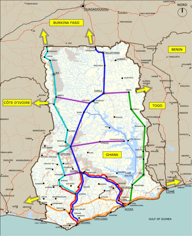 Ghana's proposed rail lines of over 4,000 kilometers.