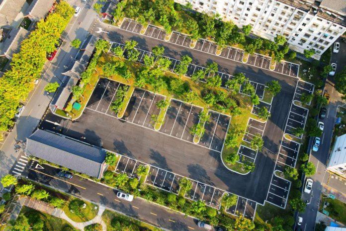 "Photo taken on Aug. 20, 2020 shows a ""sponge parking lot"" in Rugao, east China's Jiangsu province. (Photo by Wu Shujian/People's Daily Online)"