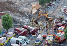 Photo taken on June 9, 2021 shows the site of a building collapse accident in the southwestern city of Gwangju, South Korea. At least nine people have been confirmed dead and eight others injured in a building collapse accident in southwest South Korea, Yonhap news agency reported on Wednesday. (NEWSIS/Handout via Xinhua)