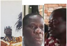 Emmanuel Tetteh Korle(L)destooled clan head of the Terkpebiawe clan of Ada, Seth Amonortey Narhguah (m) Purporting to be the stool father for the Terkpebiawe family & Seth Agbakla (R) impersonating as secretary of the Terkpebiawe clan
