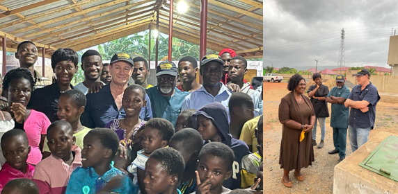 Dave Harper, boxing legend Prof. Azumah Nelson and actress and TV presenter Ama K. Abebrese with kids (left) and liaising with Dr Jane Irina Adu