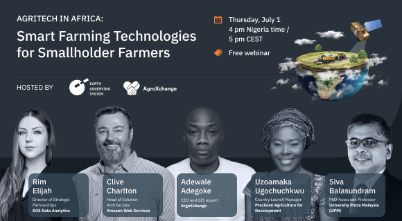Presenters of the webinar on smart farming technologies in Africa hosted by EOS Data Analytics and AgroXchange. Image: EOS Data Analytics