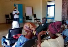 Ms Fauzia Aliu, Policy Officer, Water Aid Ghana speaking during the training