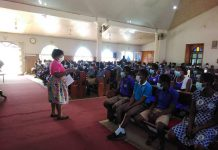 Mrs Mensah addressing students in one of the schools