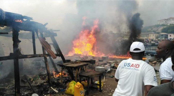 Fire Destroys part of Elmina Fish Market