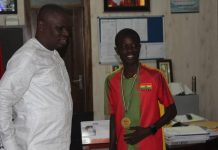 Athlete Amponsah visits Youth and Sports Minister