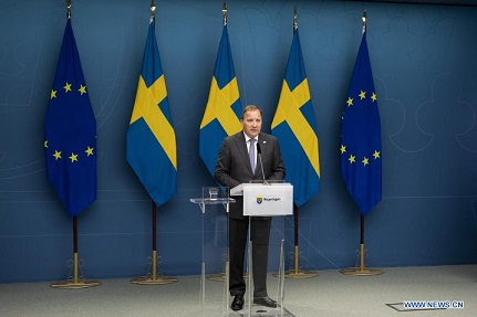 Swedish Prime Minister Stefan Lofven attends a press conference after losing a no-confidence vote in Stockholm, Sweden, on June 21, 2021. Swedish Prime Minister Stefan Lofven was ousted in a no-confidence vote in the parliament on Monday, as a majority of parliament members backed his departure. (Ninni Andersson/Regeringskansliet/Handout via Xinhua)