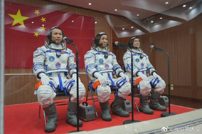 The three Chinese astronauts tasked with the Shenzhou-12 manned spaceflight mission. (Photo/WeChat account of Our Space, a Beijing-based non-profit new media center focusing on spreading aerospace knowledge and news)