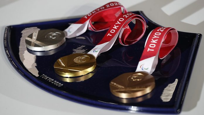A medal tray that will be used during the victory ceremonies at the Tokyo 2020 Paralympic Games is displayed during an unveiling event for the victory ceremonies' items including podium, music, costume and the medal tray for the Olympic and Paralympic games at Ariake Arena, in Tokyo, Japan June 3, 2021. REUTERS/Issei Kato/Pool