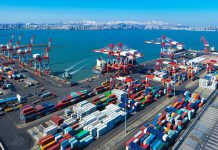 Photo taken on March 3, 2021 shows a container terminal of Weihai Port under the management of Shandong Port Group Co., Ltd. (Photo by Zhu Chunxiao/People's Daily Online)